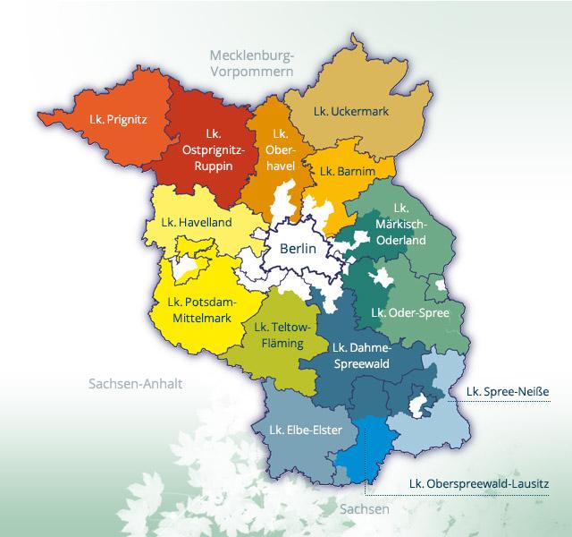Regionen Karte Leader Forum Netzwerk Brandenburg